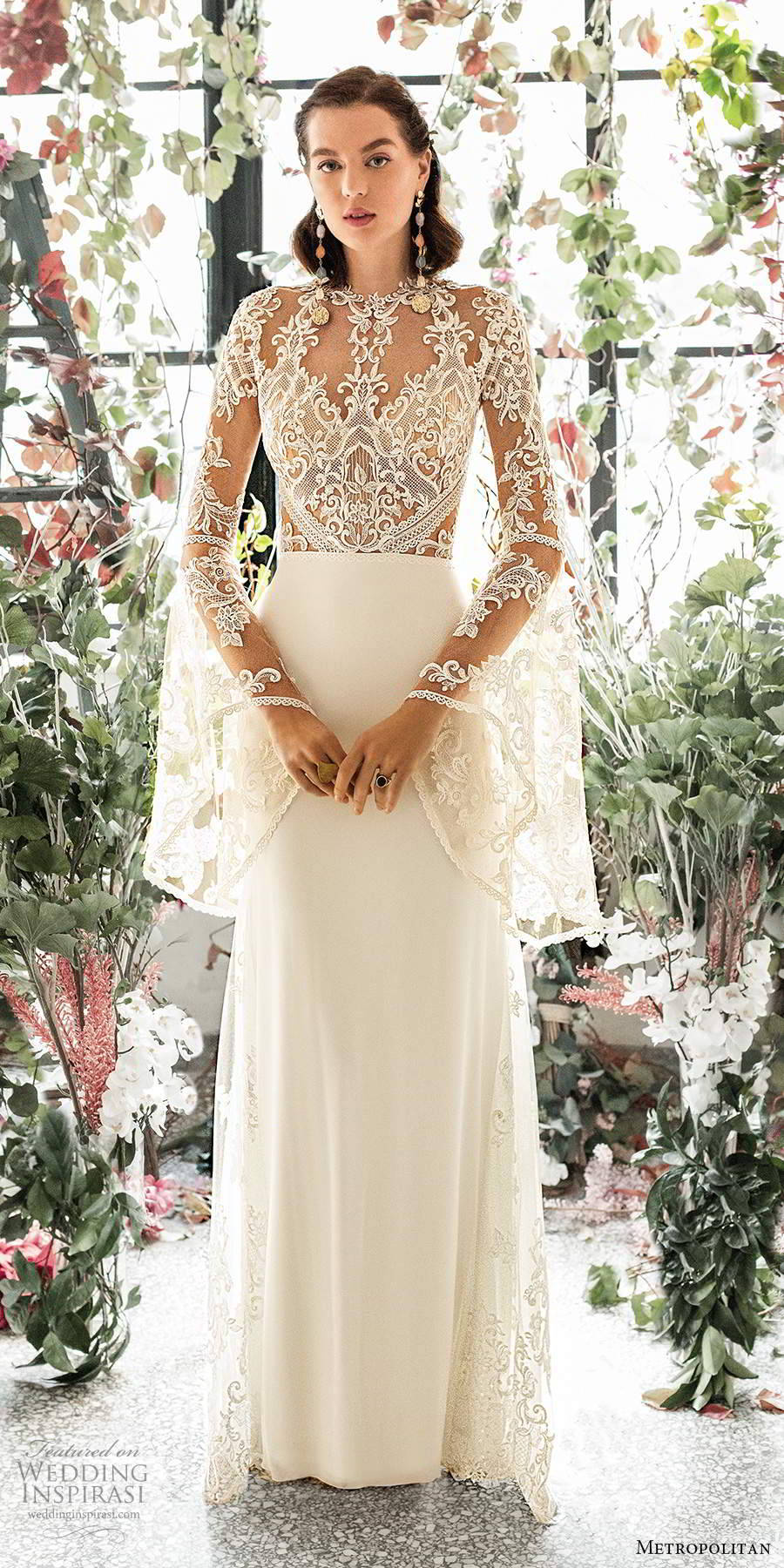 metropolitan spring 2020 bridal illusion long flare sleeves jewel neckline sheer lace embellished bodice sheath a line wedding dress keyhole back sweep train (3) mv
