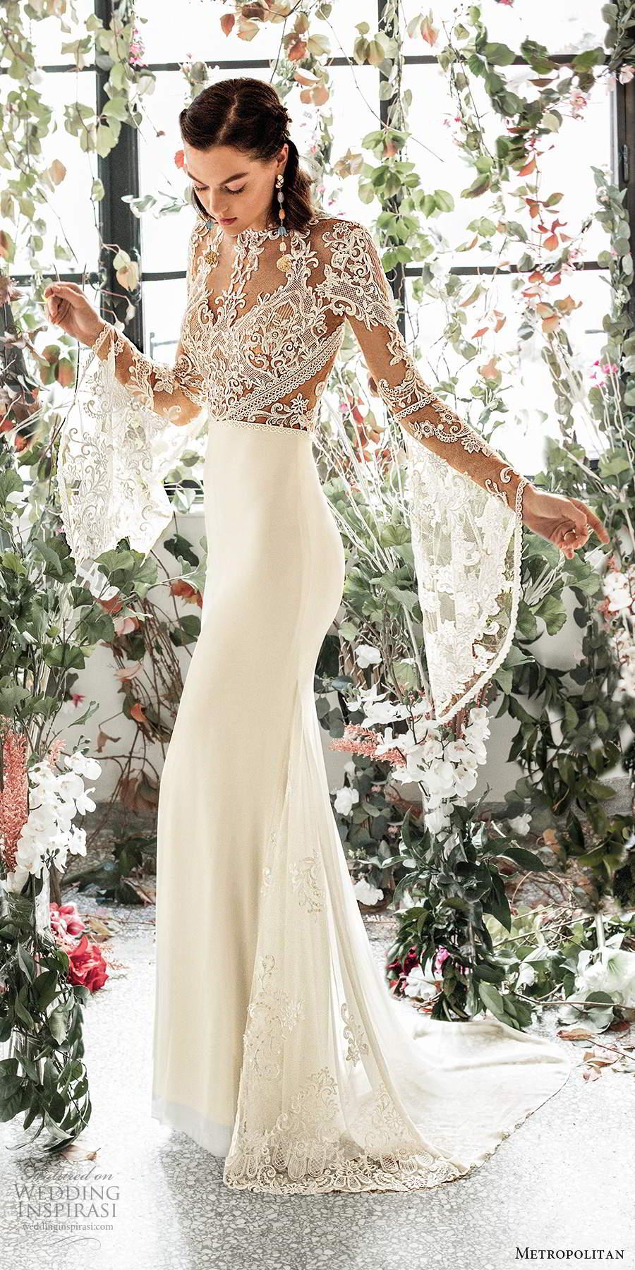 metropolitan spring 2020 bridal illusion long flare sleeves jewel neckline sheer lace embellished bodice sheath a line wedding dress keyhole back sweep train (3) sv
