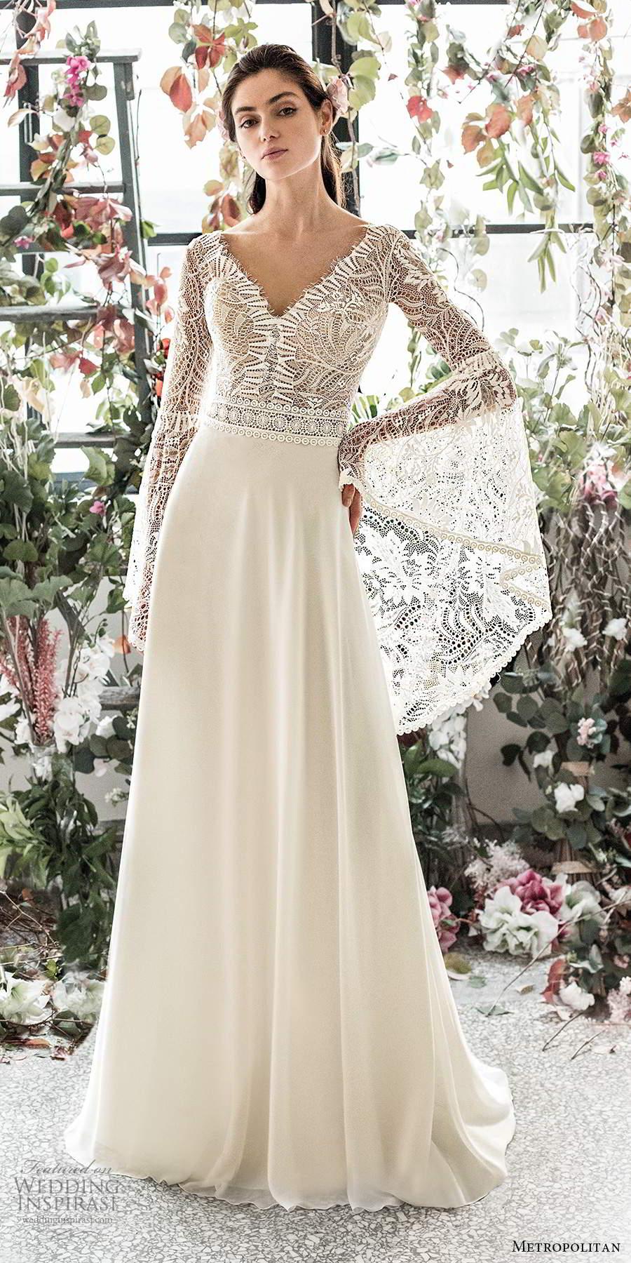 metropolitan spring 2020 bridal illusion long flare sleeves v neckline embellished lace bodice boho chic a line wedding dress v back chapel train (11) mv