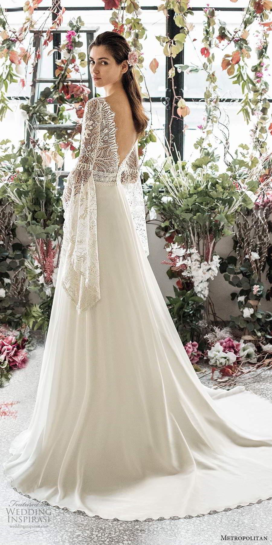 metropolitan spring 2020 bridal illusion long flare sleeves v neckline embellished lace bodice boho chic a line wedding dress v back chapel train (11) sv