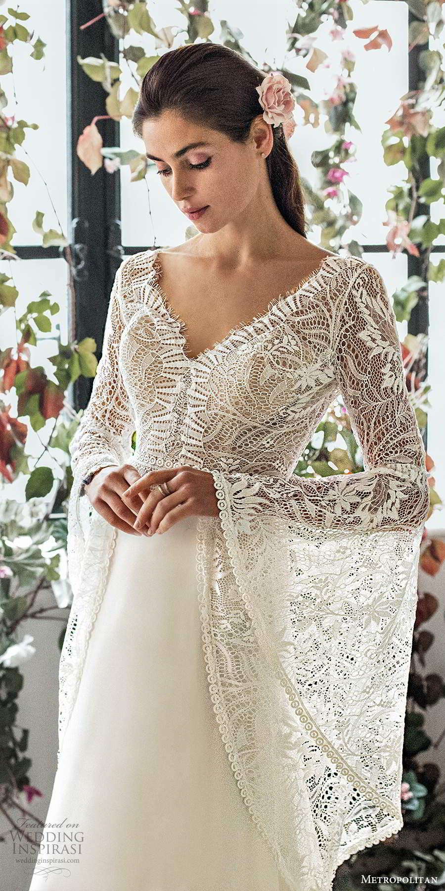 metropolitan spring 2020 bridal illusion long flare sleeves v neckline embellished lace bodice boho chic a line wedding dress v back chapel train (11) zv