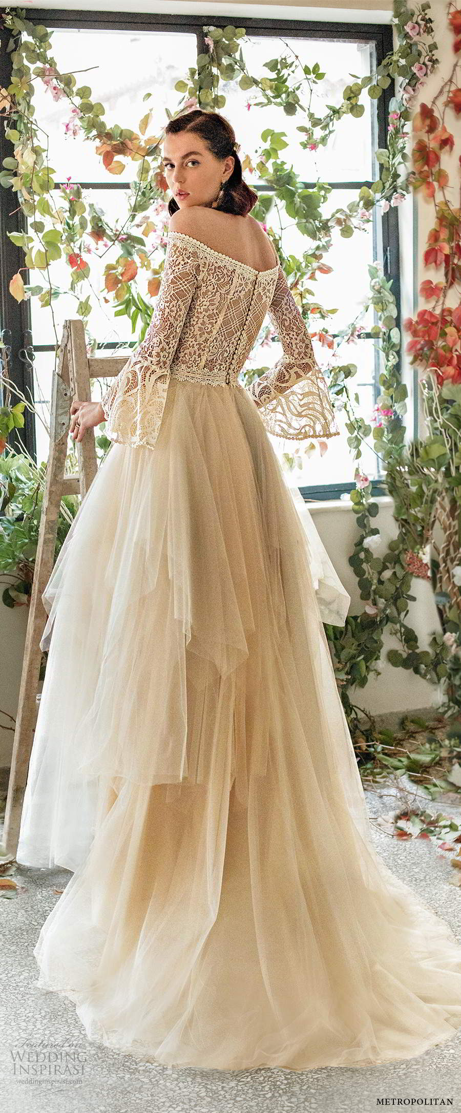metropolitan spring 2020 bridal illusion long sleeve off shoulder straight across neckline embellished lace bodce tiered skirt ball gown a line wedding dress chapel train (2) bv