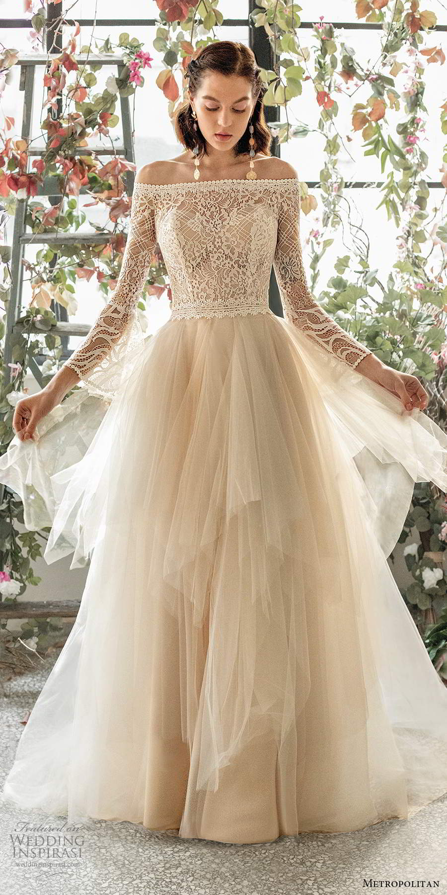 metropolitan spring 2020 bridal illusion long sleeve off shoulder straight across neckline embellished lace bodce tiered skirt ball gown a line wedding dress chapel train (2) mv