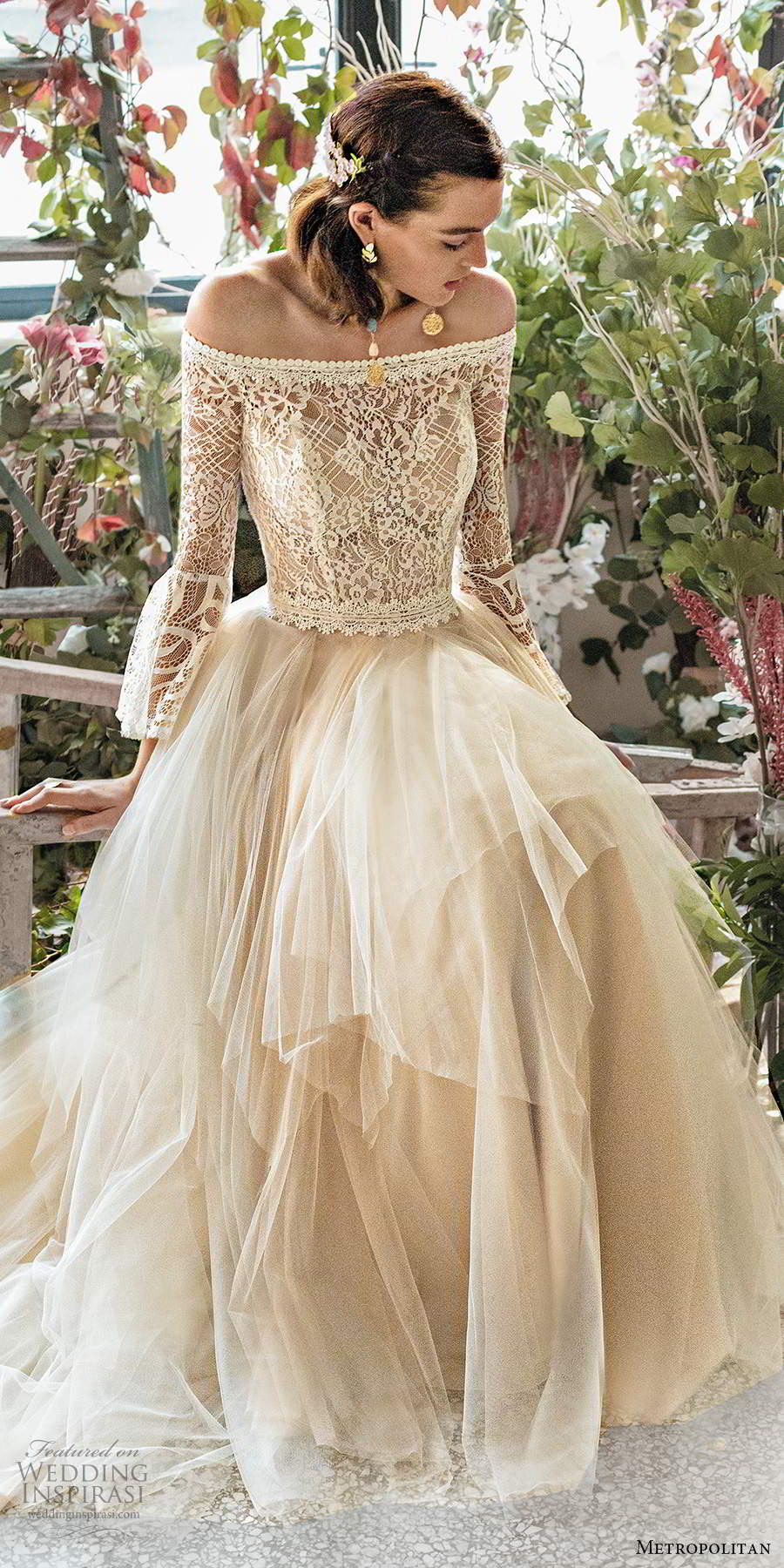 metropolitan spring 2020 bridal illusion long sleeve off shoulder straight across neckline embellished lace bodce tiered skirt ball gown a line wedding dress chapel train (2) zv