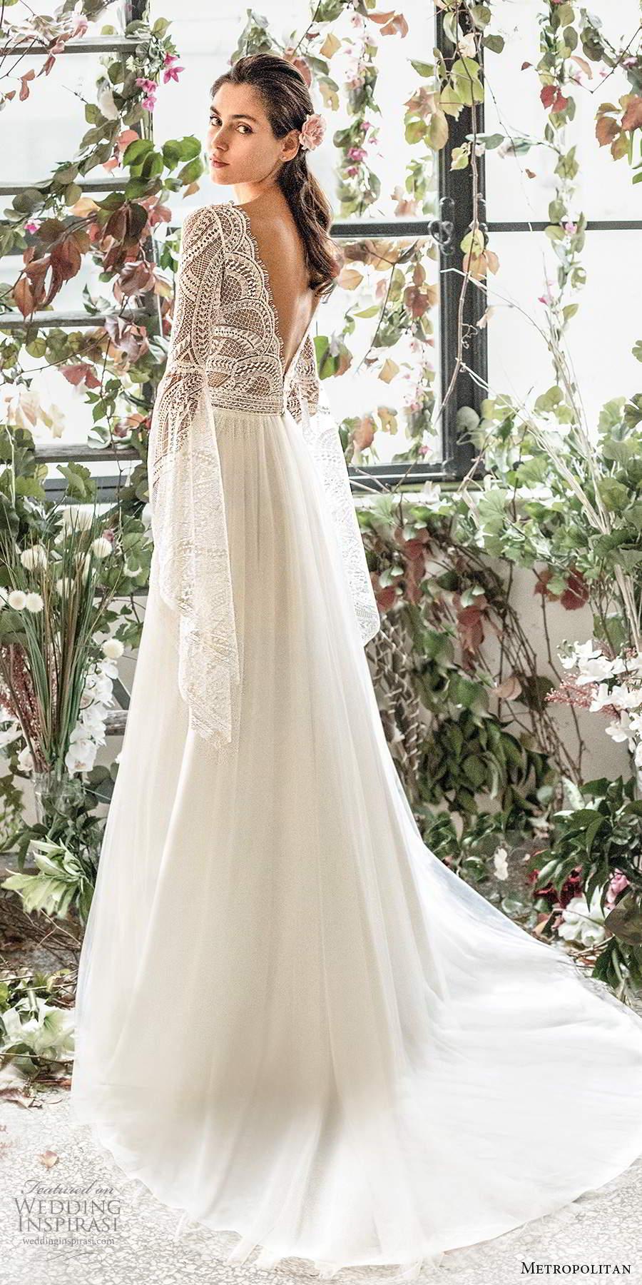 metropolitan spring 2020 bridal long flare sleeve scalloped v neckline embellished lace bodice soft a line wedding dress v back chapel train (1) bv