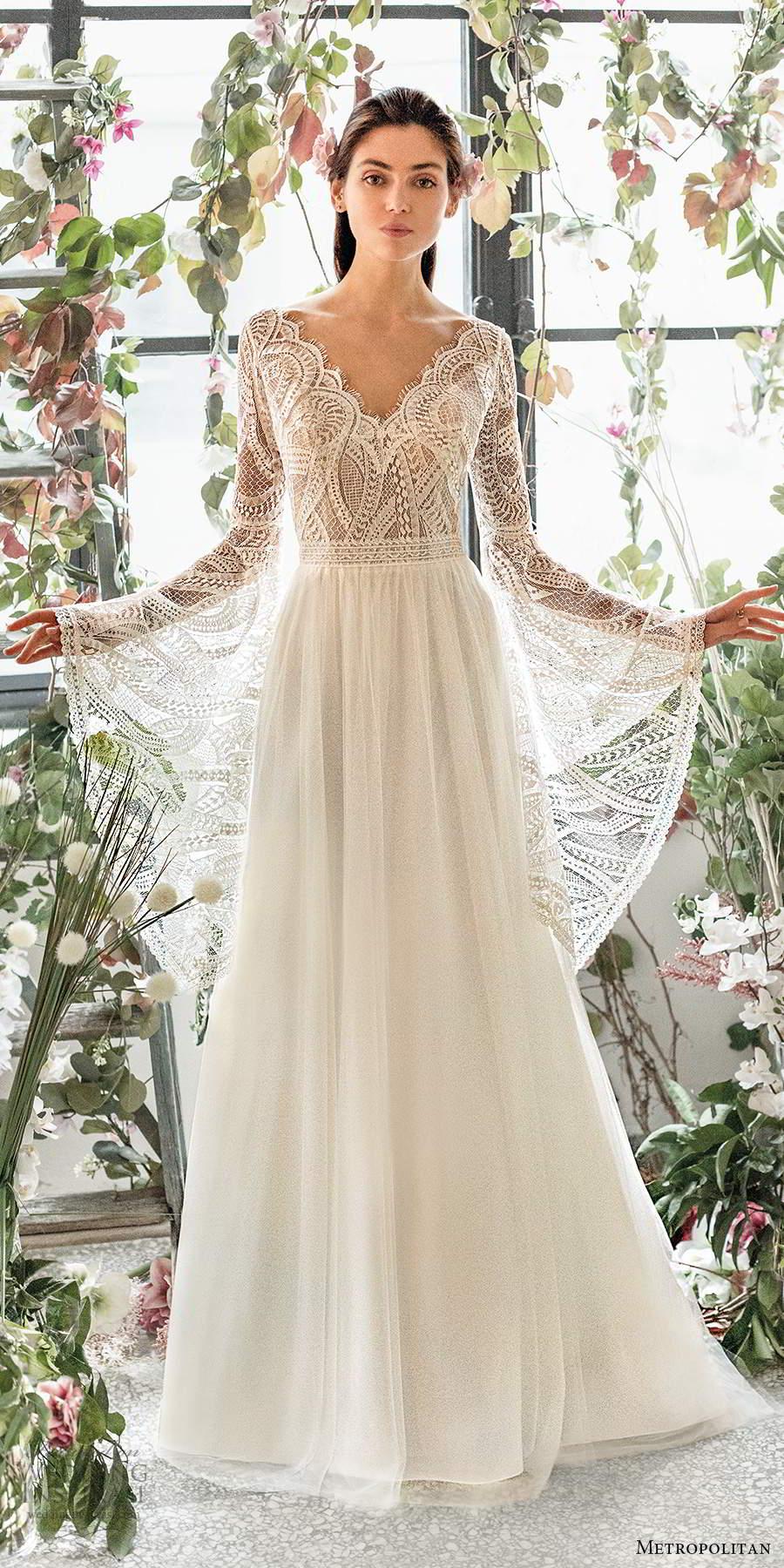 metropolitan spring 2020 bridal long flare sleeve scalloped v neckline embellished lace bodice soft a line wedding dress v back chapel train (1) mv