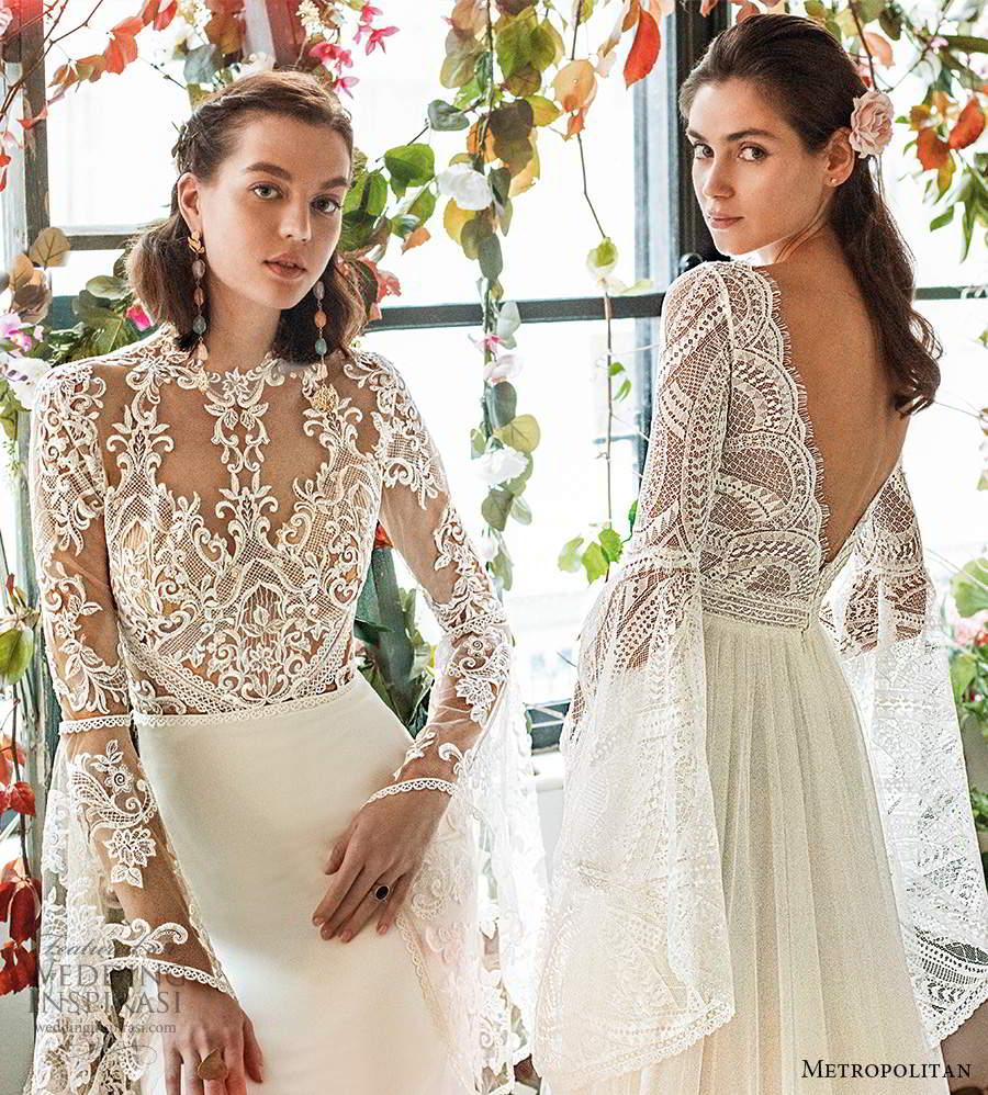 metropolitan spring 2020 bridal long flare sleeve scalloped v neckline embellished lace bodice soft a line wedding dress v back chapel train (21) bv
