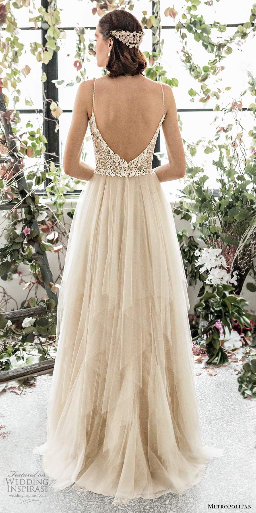 metropolitan spring 2020 bridal sleeveless beaded thin straps sweetheart neckline embellished lace bodice soft a line wedding dress scoop back sweep train (4) bv
