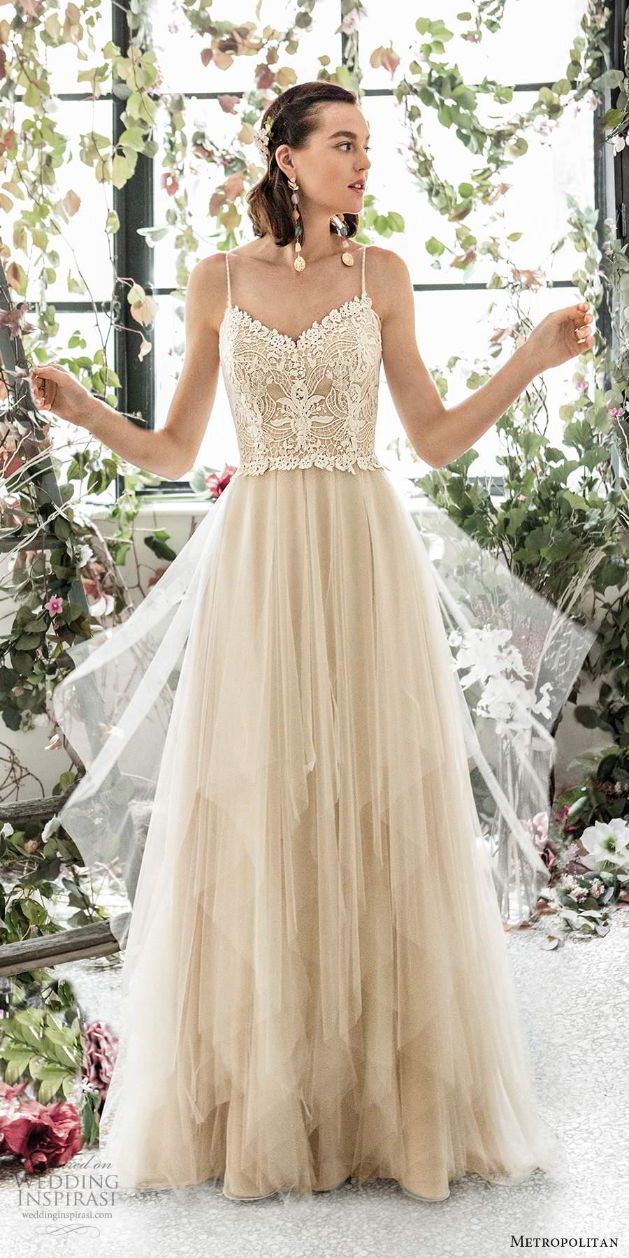 metropolitan spring 2020 bridal sleeveless beaded thin straps sweetheart neckline embellished lace bodice soft a line wedding dress scoop back sweep train (4) mv