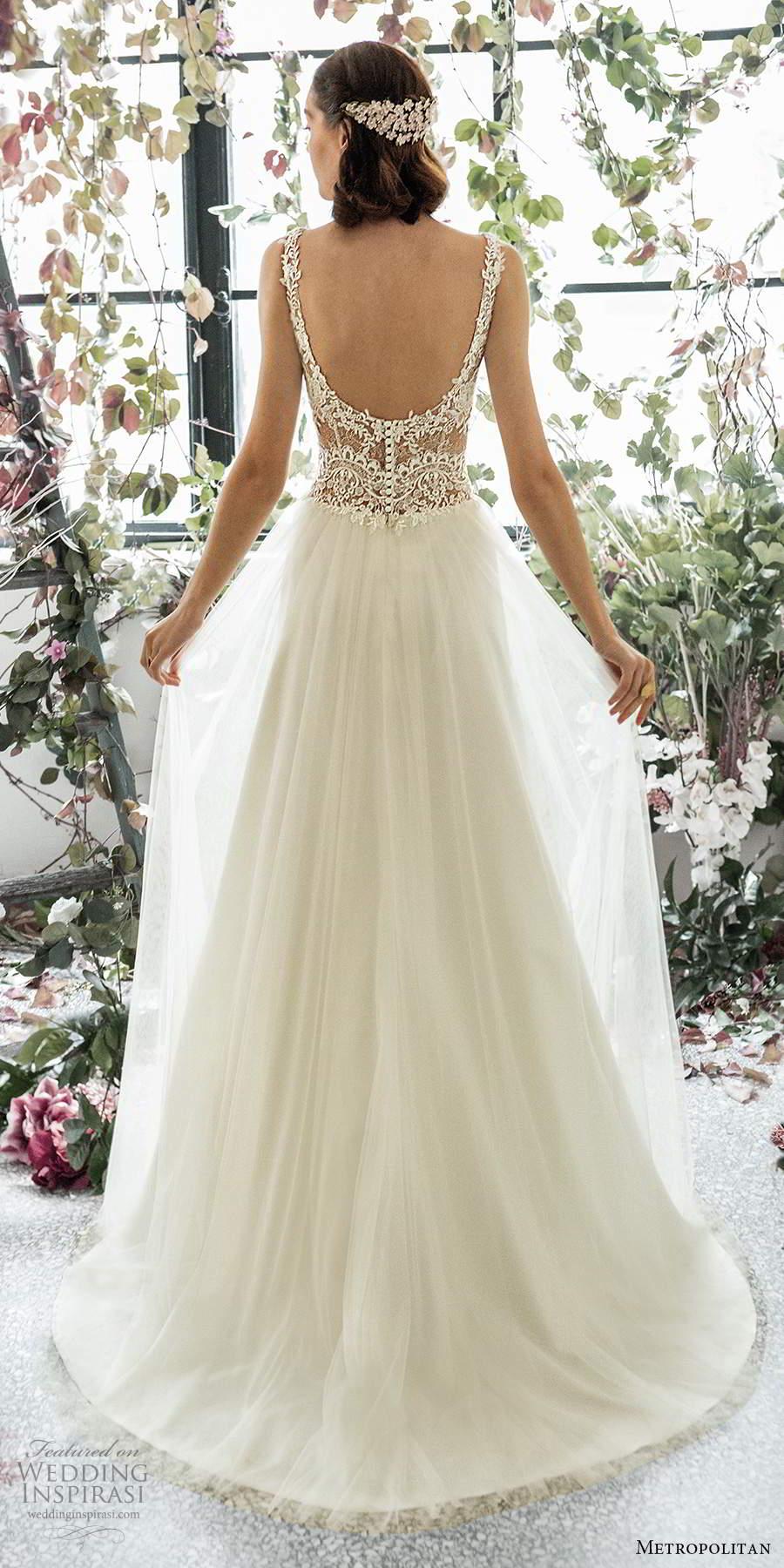 metropolitan spring 2020 bridal sleeveless lace straps embellished lace sheer bodice romantic a line wedding dress (6) scoop back chapel train bv