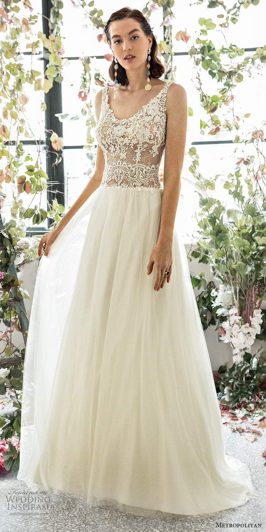 metropolitan spring 2020 bridal sleeveless lace straps embellished lace sheer bodice romantic a line wedding dress (6) scoop back chapel train mv