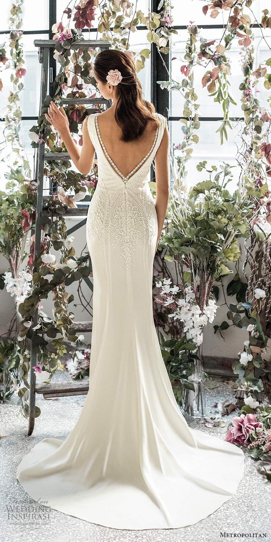 metropolitan spring 2020 bridal sleeveless thick straps plunging v neckline embellished bodice clean skirt sheath wedding dress v back chapel train (14) bv