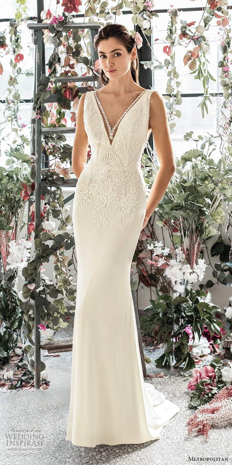 metropolitan spring 2020 bridal sleeveless thick straps plunging v neckline embellished bodice clean skirt sheath wedding dress v back chapel train (14) mv
