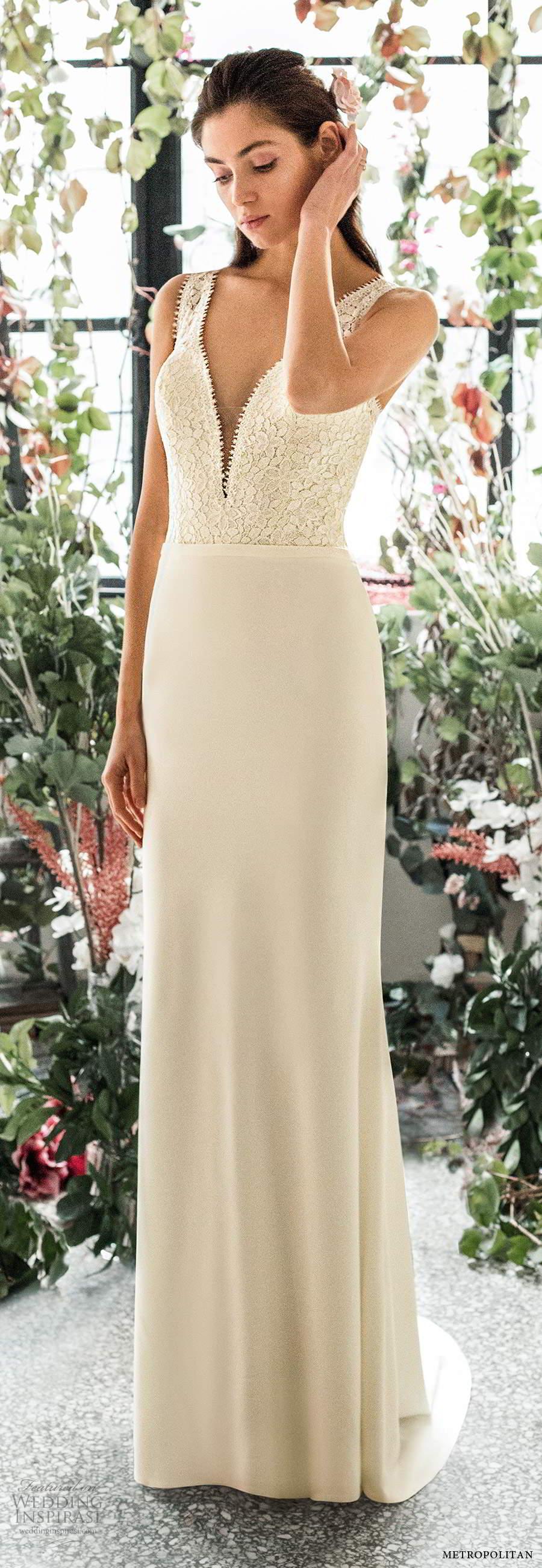 metropolitan spring 2020 bridal sleeveless thick straps plunging v neckline embellished lace bodice clean skirt elegant sheath wedding dress chapel train (16) mv
