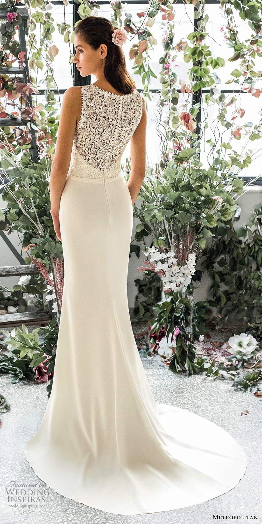 metropolitan spring 2020 bridal sleeveless thick straps plunging v neckline embellished lace bodice clean skirt elegant sheath wedding dress lace back chapel train (16) bv
