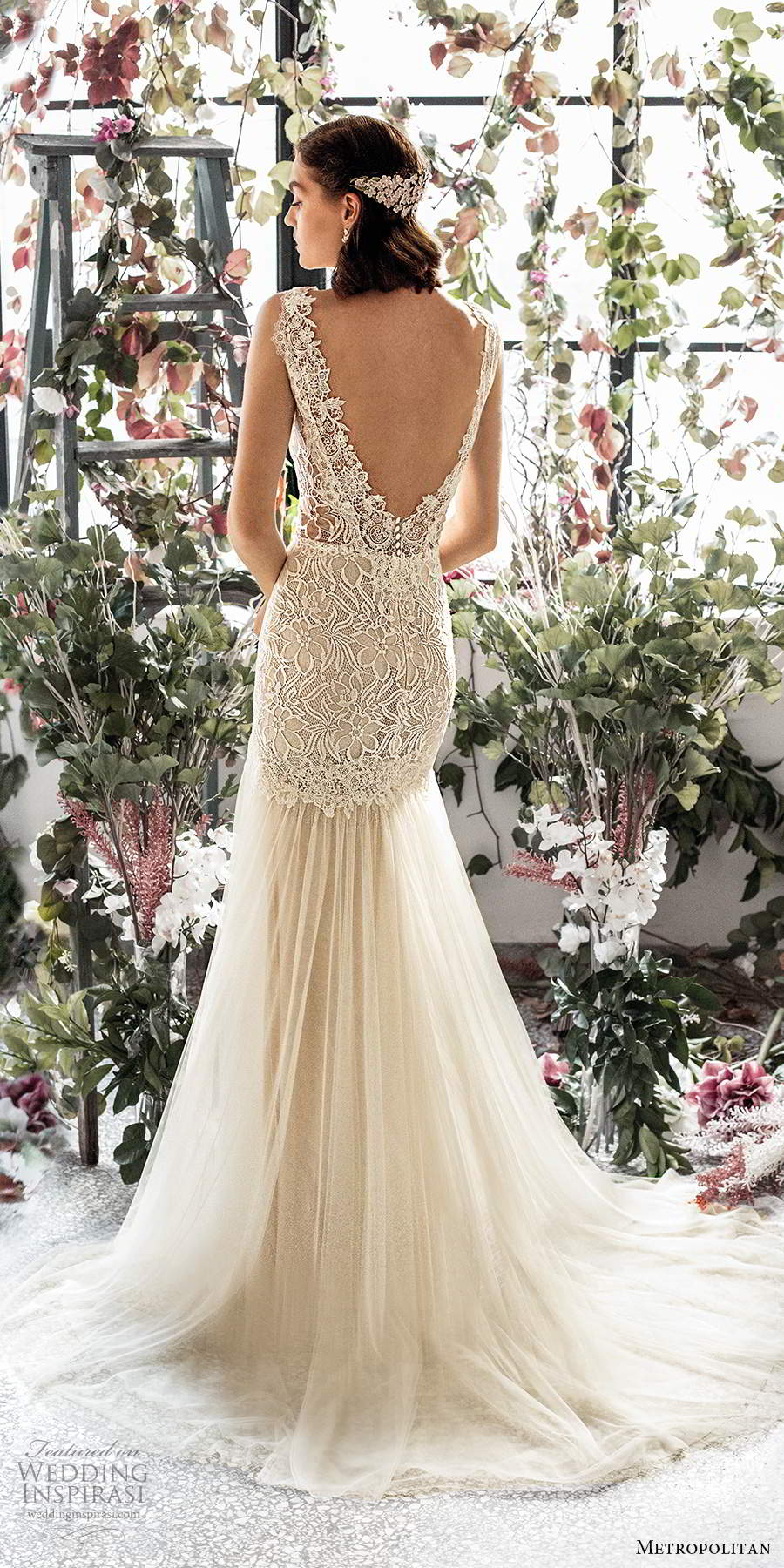 metropolitan spring 2020 bridal sleeveless thick straps plunging v neckline embellished lace bodice fit flare mermaid wedding dress scoop back chapel train (7) bv