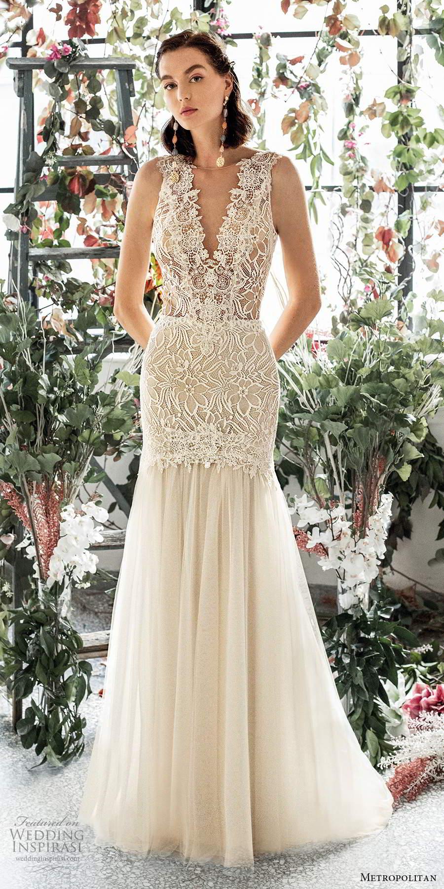 metropolitan spring 2020 bridal sleeveless thick straps plunging v neckline embellished lace bodice fit flare mermaid wedding dress scoop back chapel train (7) mv