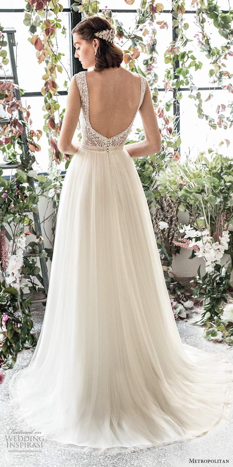 metropolitan spring 2020 bridal sleeveless thick straps plunging v neckline embellished lace bodice soft a line wedding dress (19) bv