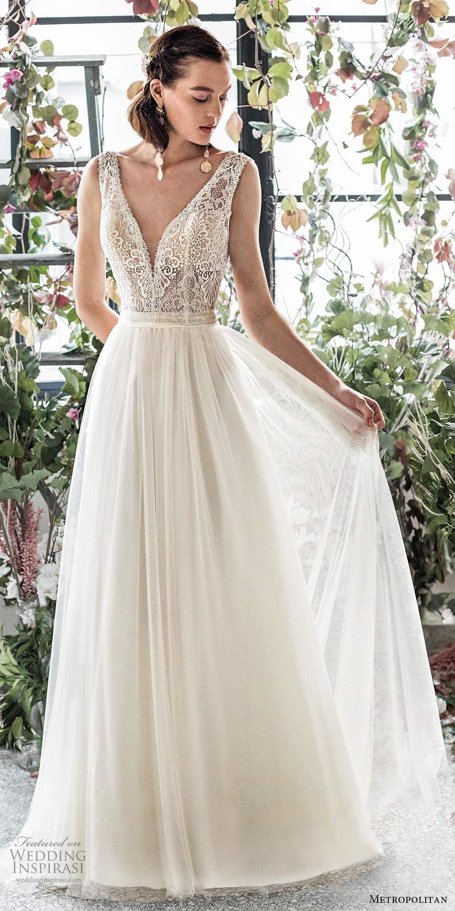 metropolitan spring 2020 bridal sleeveless thick straps plunging v neckline embellished lace bodice soft a line wedding dress (19) mv