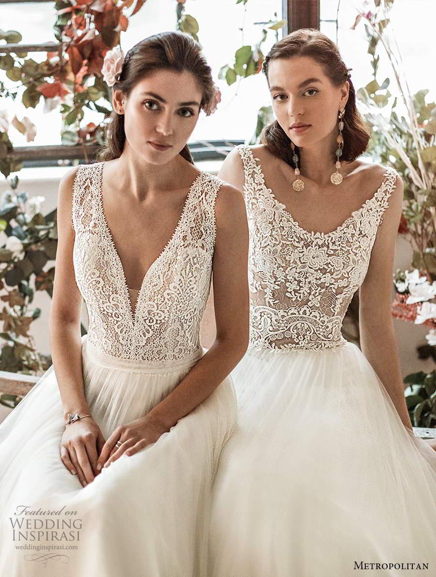 metropolitan spring 2020 bridal sleeveless thick straps plunging v neckline embellished lace bodice soft a line wedding dress (22) mv