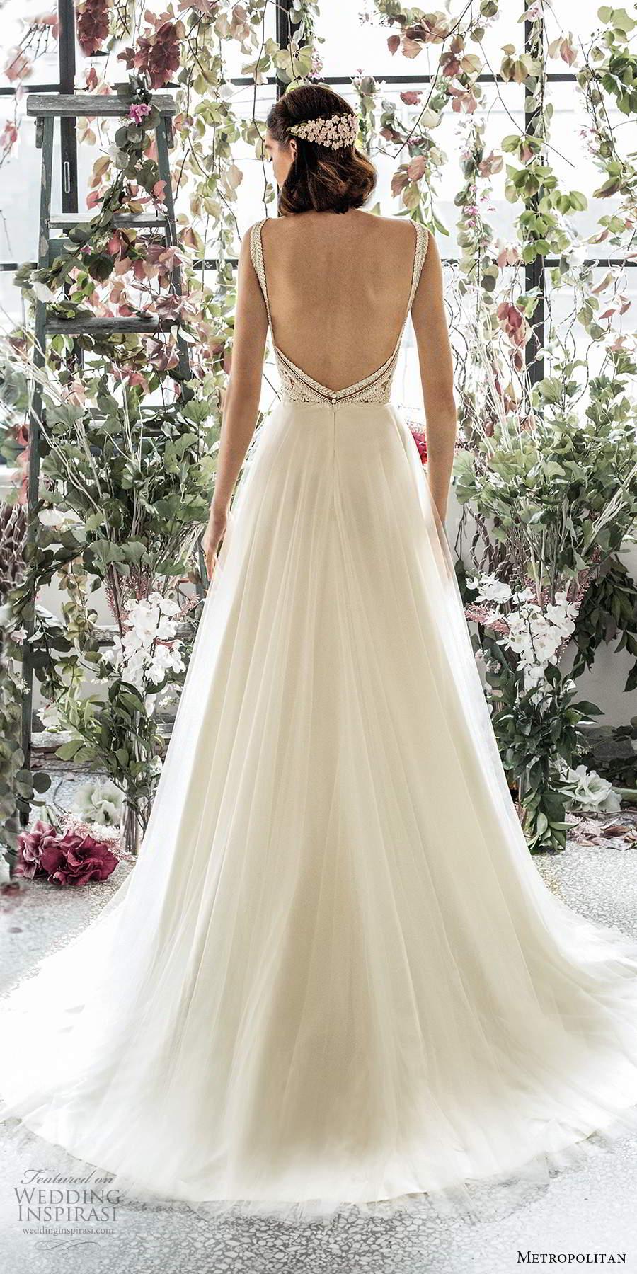 metropolitan spring 2020 bridal sleeveless thick straps plunging v neckline embellished lace bodice soft a line wedding dress low back chapel train (12) bv