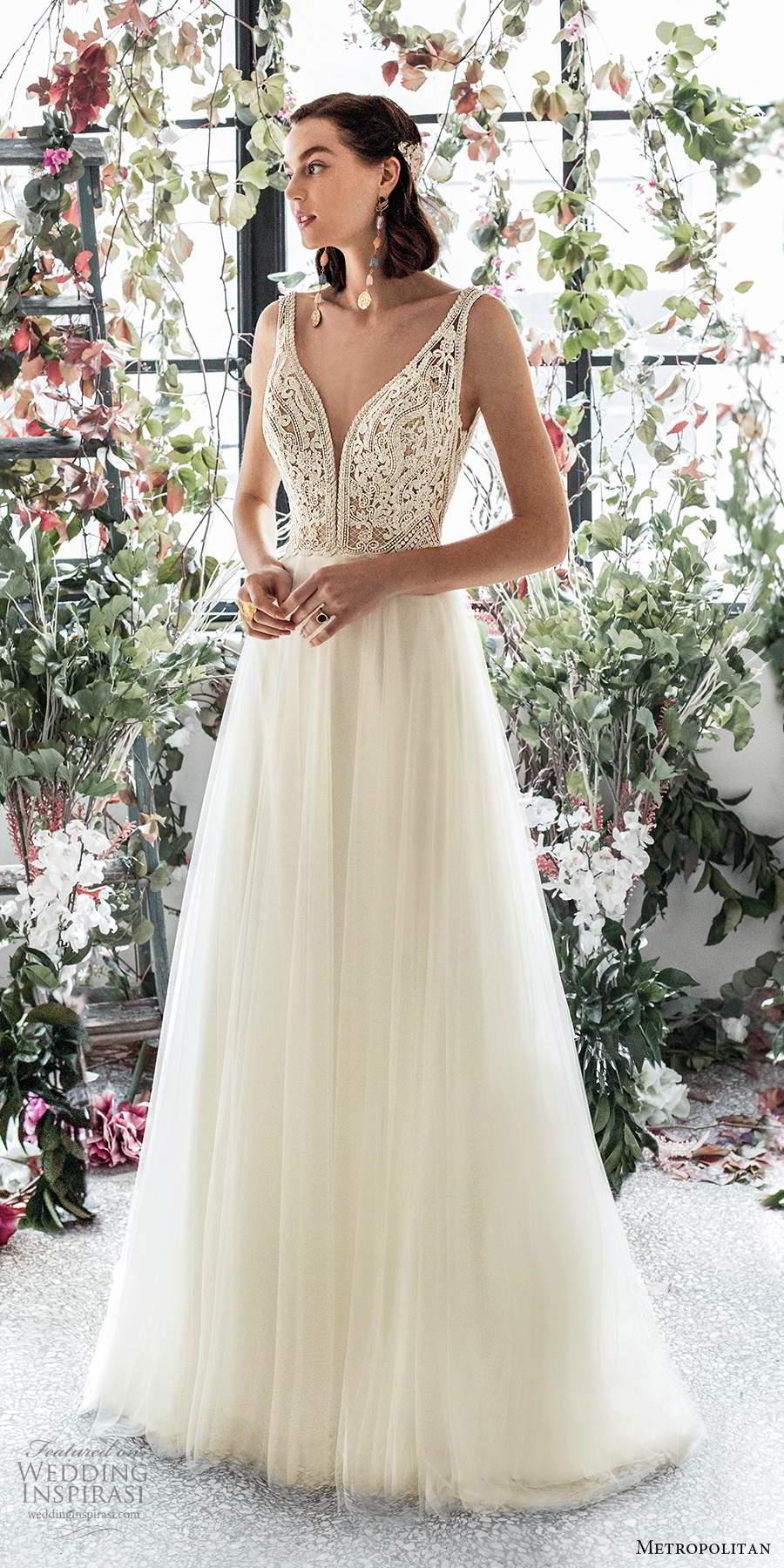metropolitan spring 2020 bridal sleeveless thick straps plunging v neckline embellished lace bodice soft a line wedding dress low back chapel train (12) mv