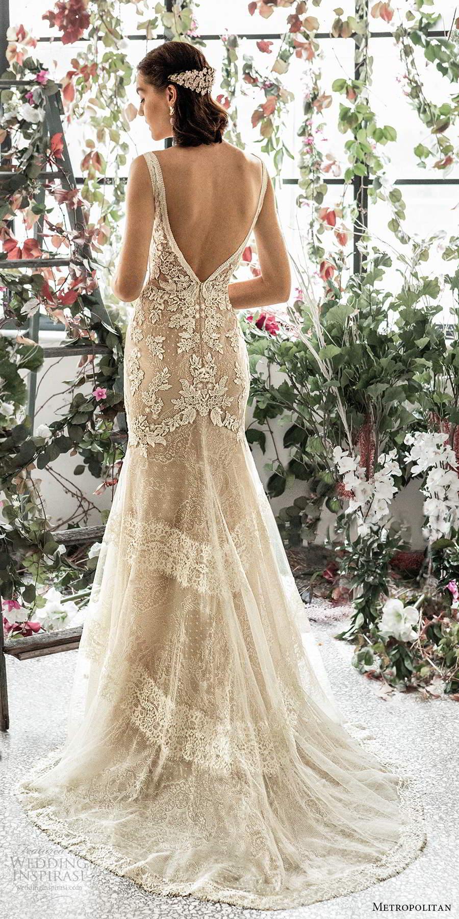 metropolitan spring 2020 bridal sleeveless thick straps plunging v neckline fully embellished lace sheath fit flare trumpet wedding dress v back chapel train (9) bv