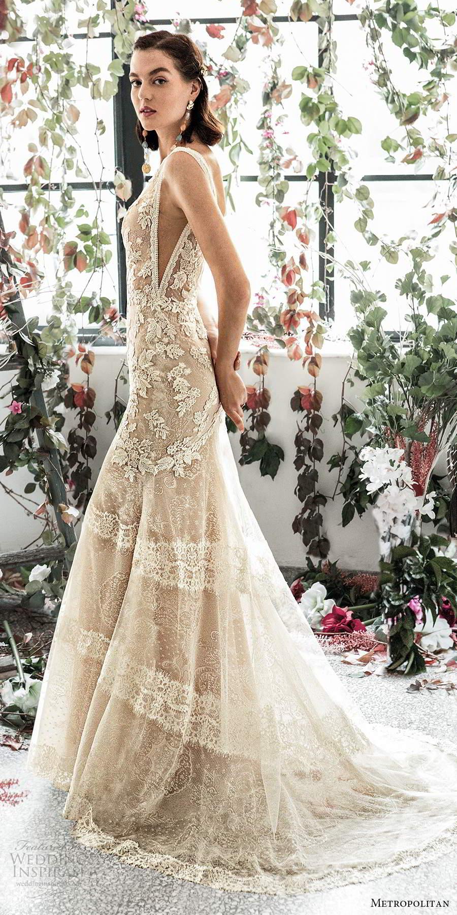 metropolitan spring 2020 bridal sleeveless thick straps plunging v neckline fully embellished lace sheath fit flare trumpet wedding dress v back chapel train (9) sv