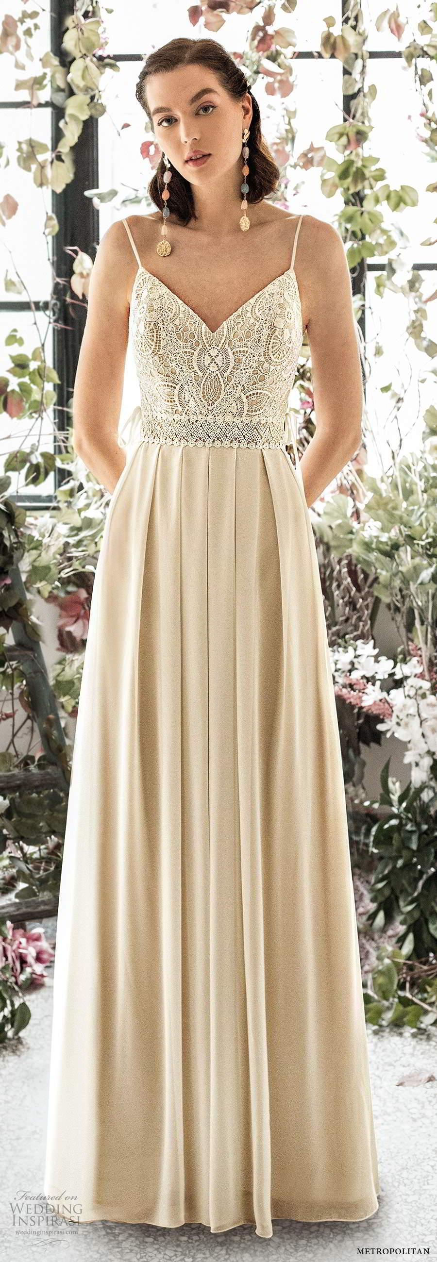 metropolitan spring 2020 bridal sleeveless thin straps v neckline embellished lace bodice pleated skirt a line wedding dress scoop back chapel train (10) mv