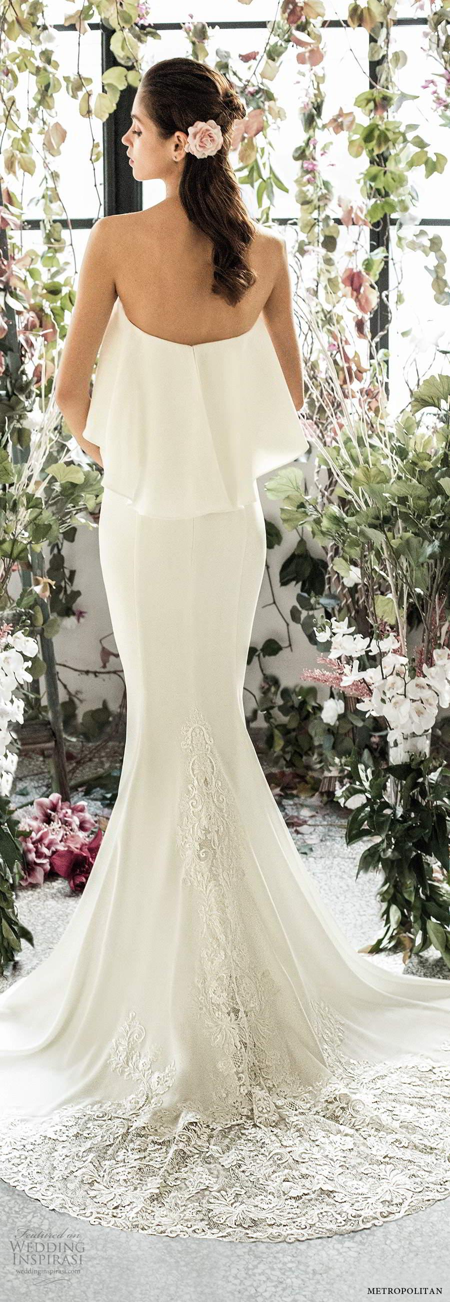 metropolitan spring 2020 bridal strapless semi sweetheart clean minimalist sheath fit flare wedding dress chapel train (15) bv