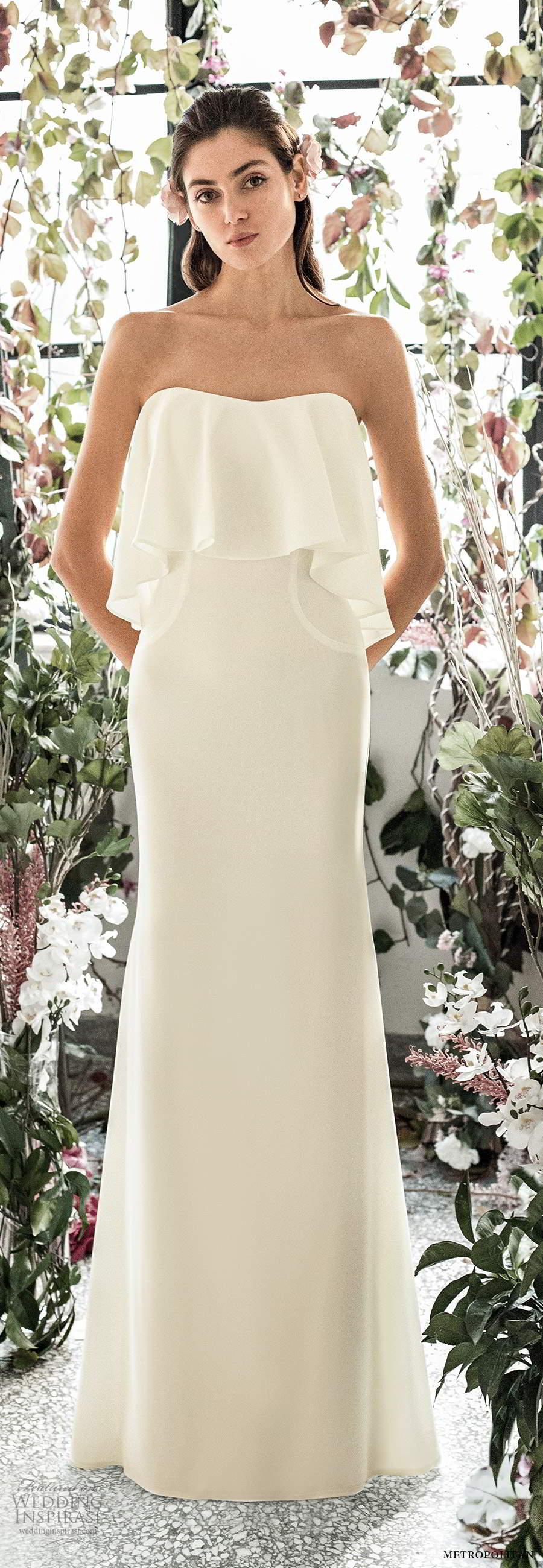 metropolitan spring 2020 bridal strapless semi sweetheart clean minimalist sheath fit flare wedding dress chapel train (15) mv