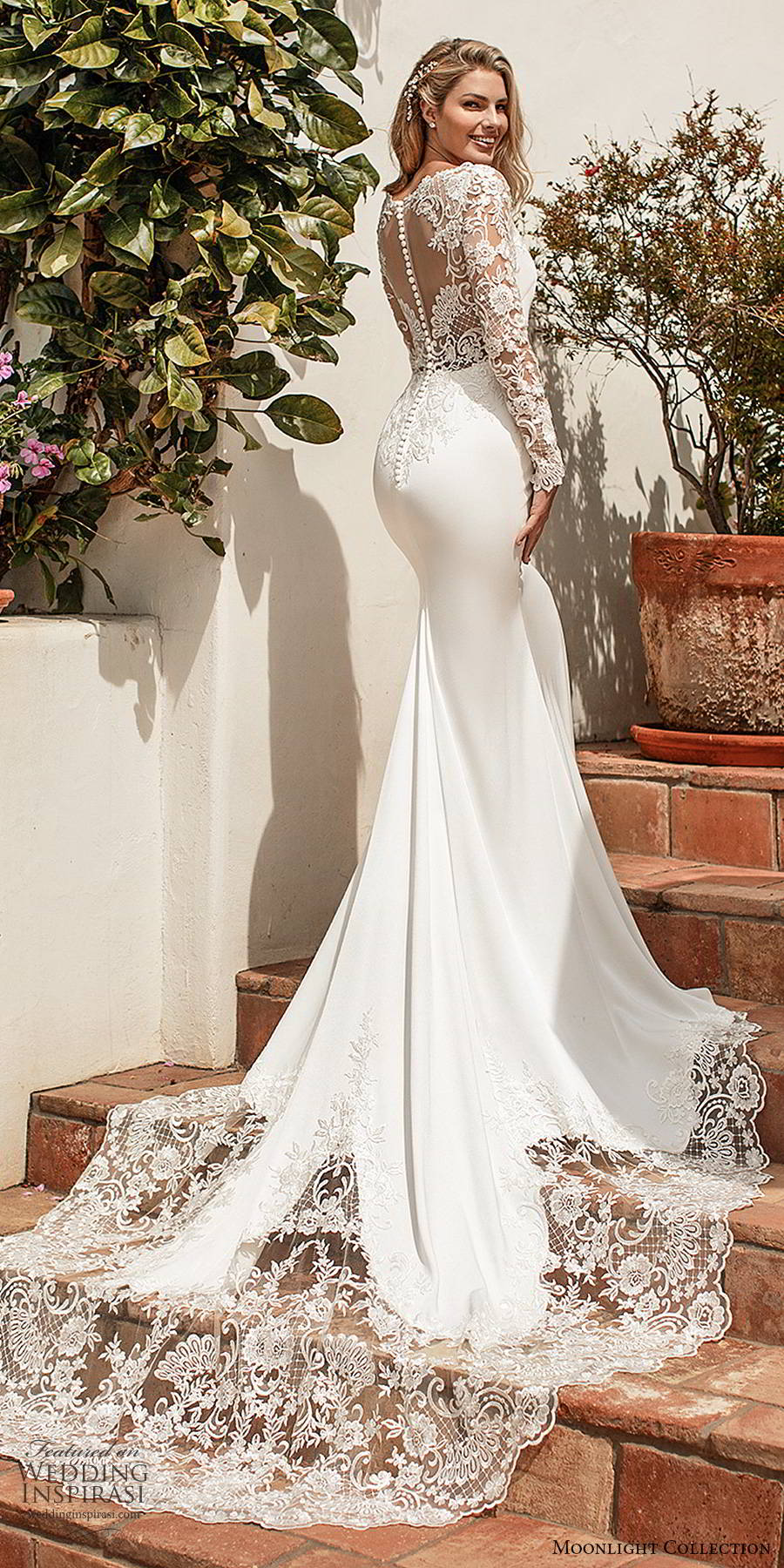 moonlight collection spring 2020 bridal illusion lace long sleeves bateau neckline clean bodice minimalist elegant sheath wedding dress illusion back chapel train (3) bv