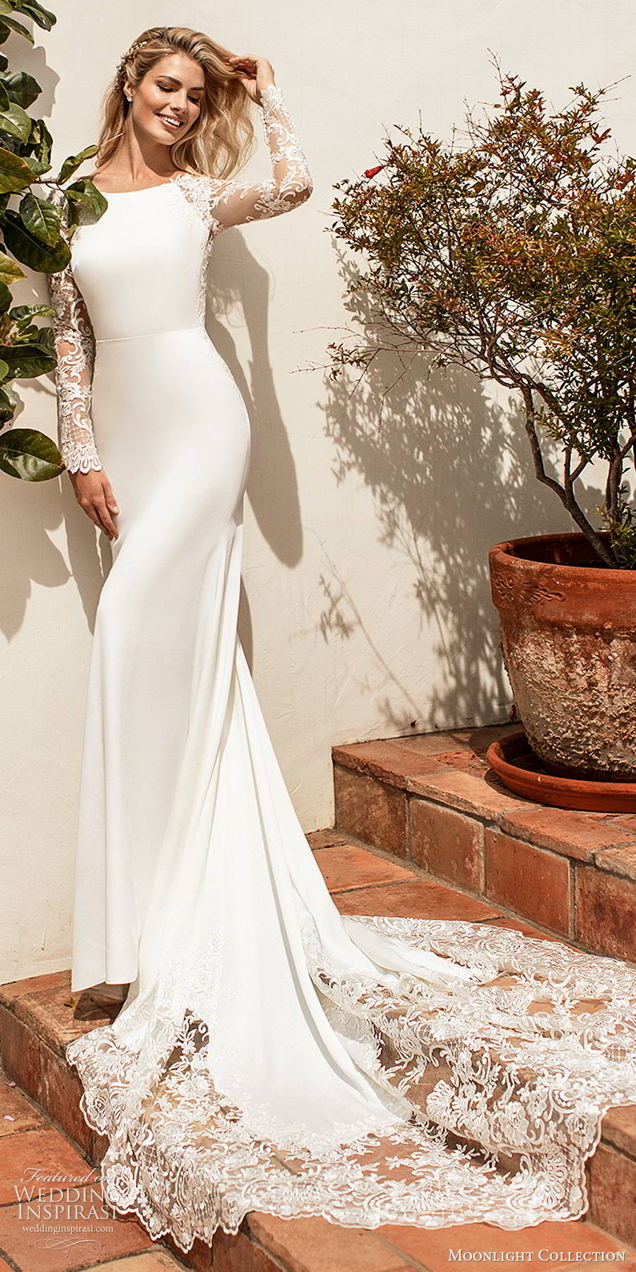 moonlight collection spring 2020 bridal illusion lace long sleeves bateau neckline clean bodice minimalist elegant sheath wedding dress illusion back chapel train (3) mv