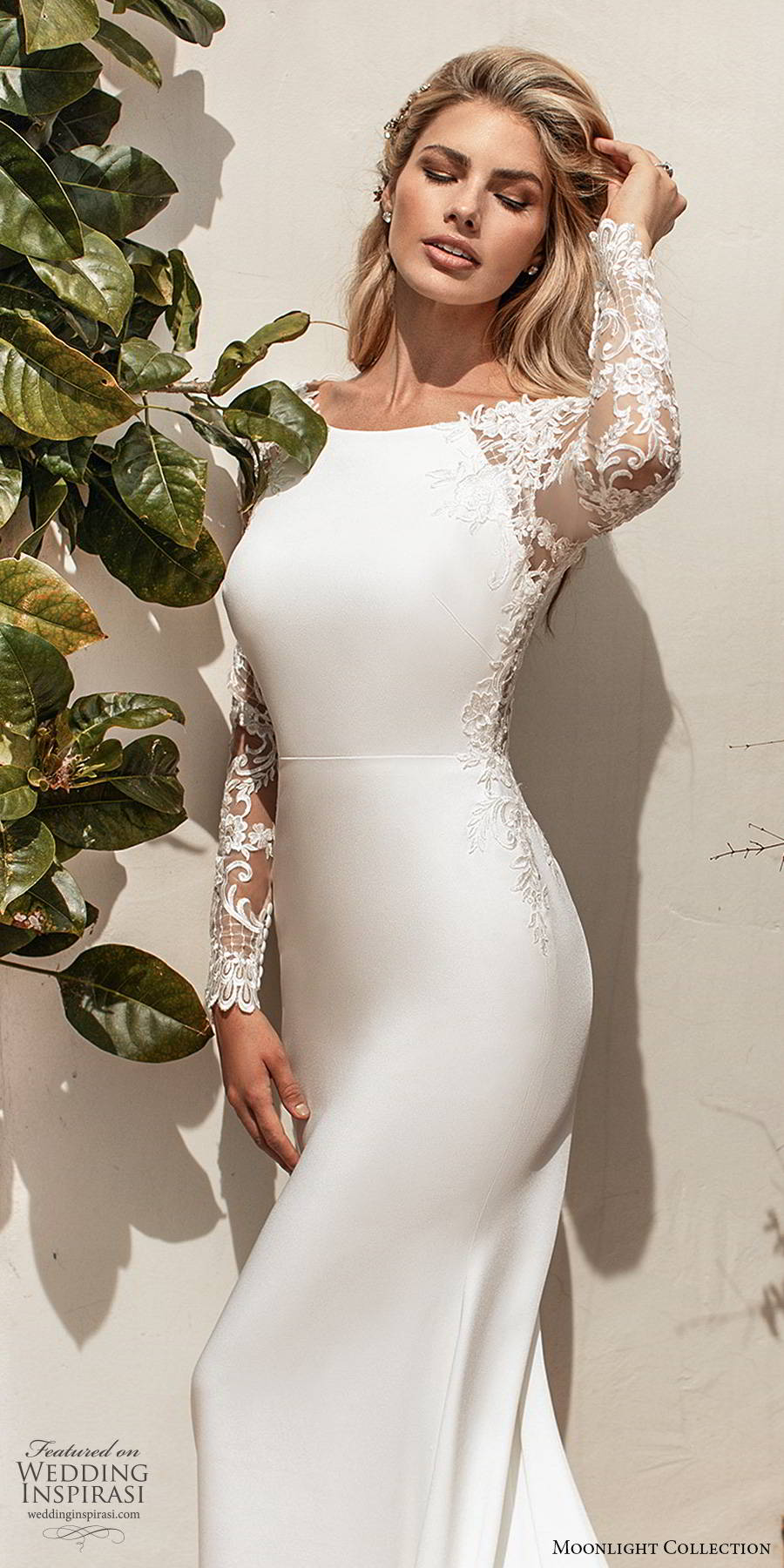 moonlight collection spring 2020 bridal illusion lace long sleeves bateau neckline clean bodice minimalist elegant sheath wedding dress illusion back chapel train (3) zv