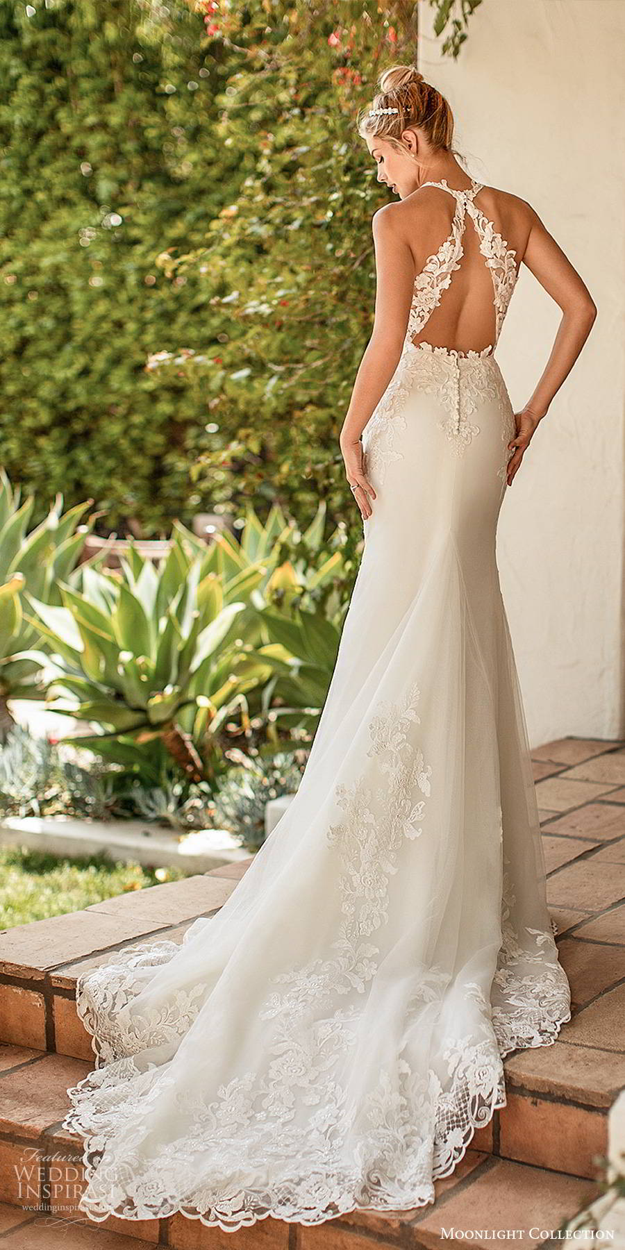 moonlight collection spring 2020 bridal sleeveless sheer straps plunging v neckline embellished bodice elegant sexy sheath fit flare wedding dress cutout back chapel train (11) bv