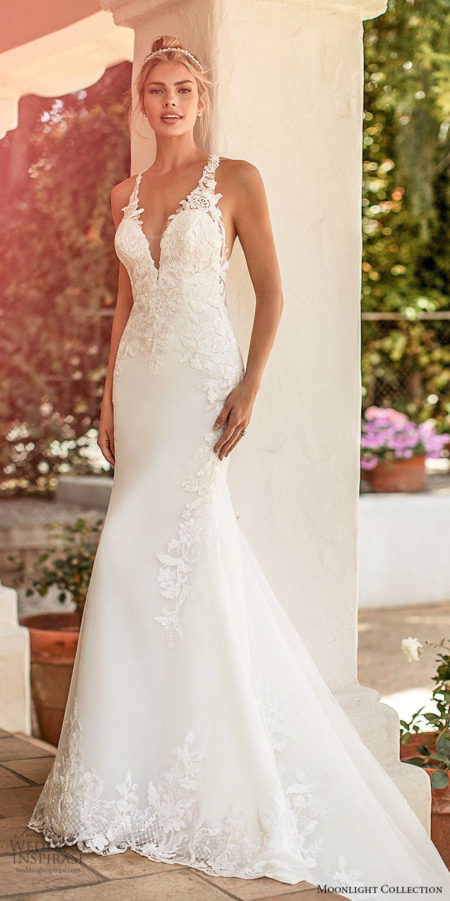 moonlight collection spring 2020 bridal sleeveless sheer straps plunging v neckline embellished bodice elegant sexy sheath fit flare wedding dress cutout back chapel train (11) mv