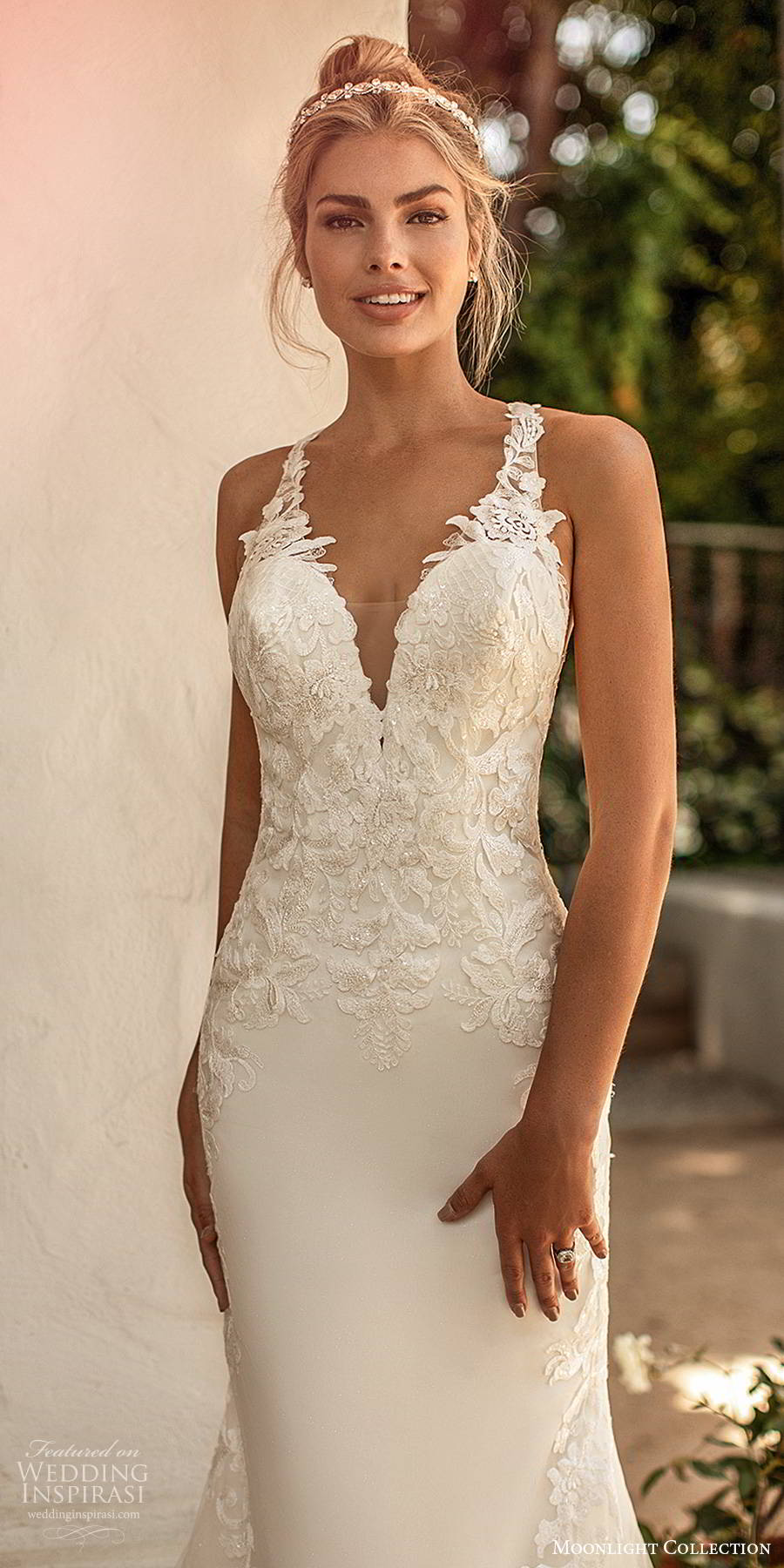 moonlight collection spring 2020 bridal sleeveless sheer straps plunging v neckline embellished bodice elegant sexy sheath fit flare wedding dress cutout back chapel train (11) zv