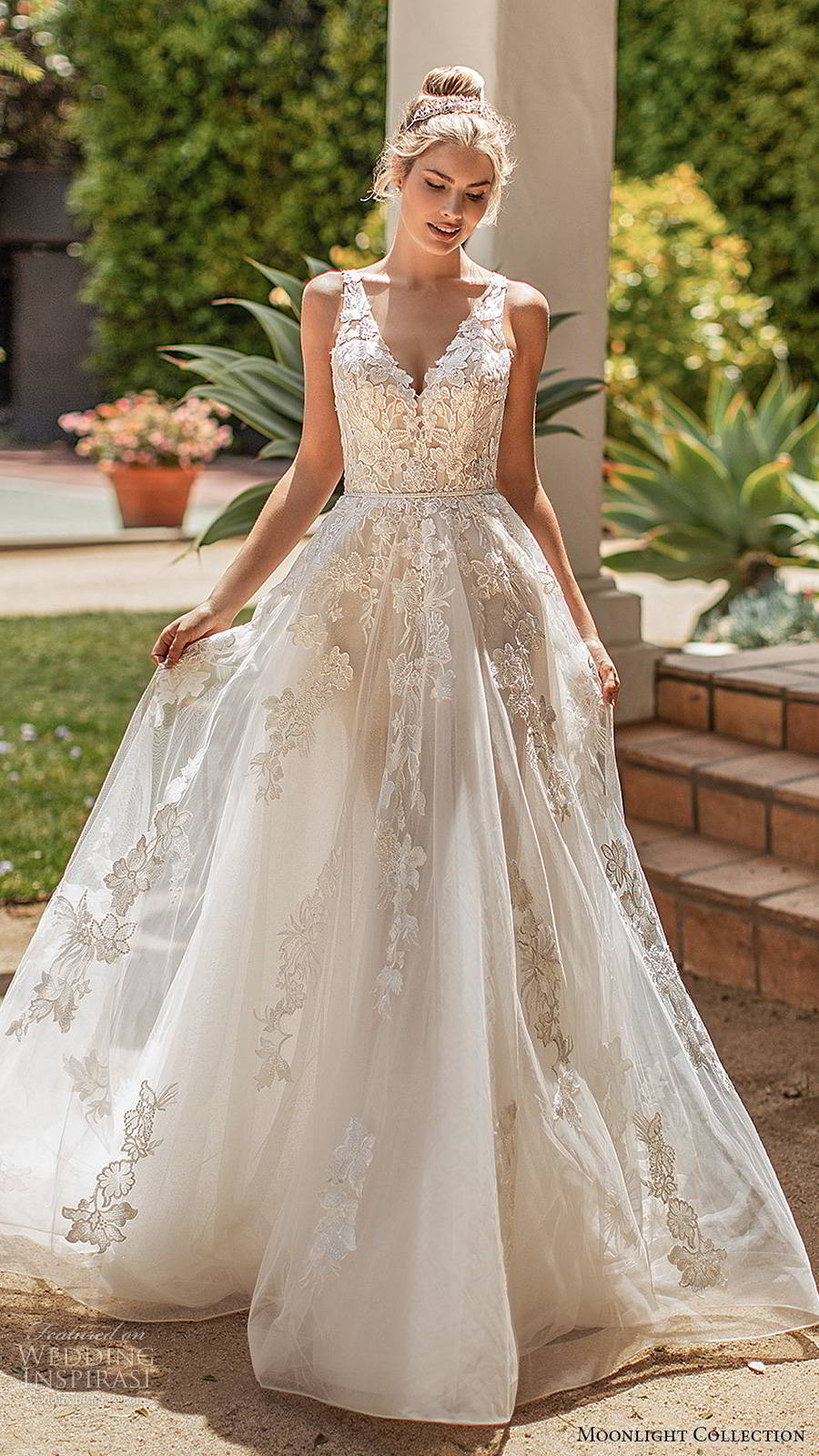 moonlight collection spring 2020 bridal sleeveless sheer straps v neckline fully embellished romantic a line ball gown wedding dress illusion back chapel train (10) mv