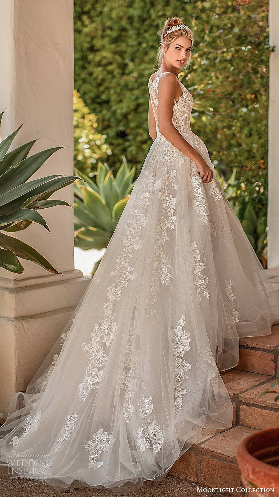 moonlight collection spring 2020 bridal sleeveless sheer straps v neckline fully embellished romantic a line ball gown wedding dress illusion back chapel train (10) sv