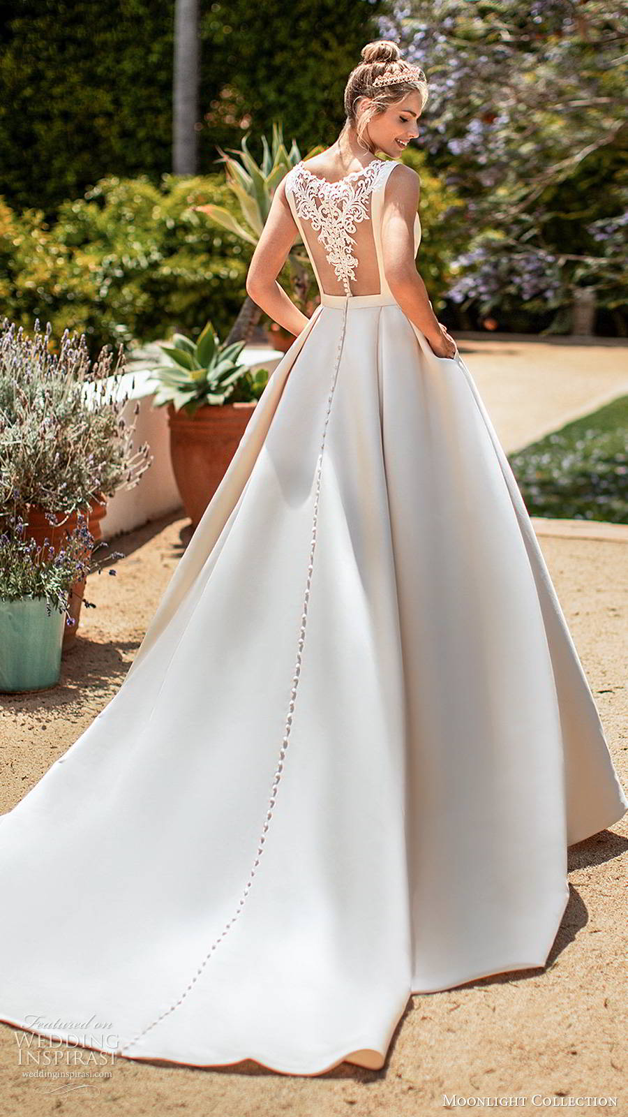 moonlight collection spring 2020 bridal sleeveless straps bateau neckline minimalist clean romantic a line ball gown wedding dress sheer back chapel train (2) bv