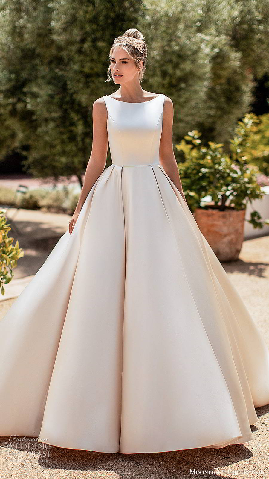 moonlight collection spring 2020 bridal sleeveless straps bateau neckline minimalist clean romantic a line ball gown wedding dress sheer back chapel train (2) mv