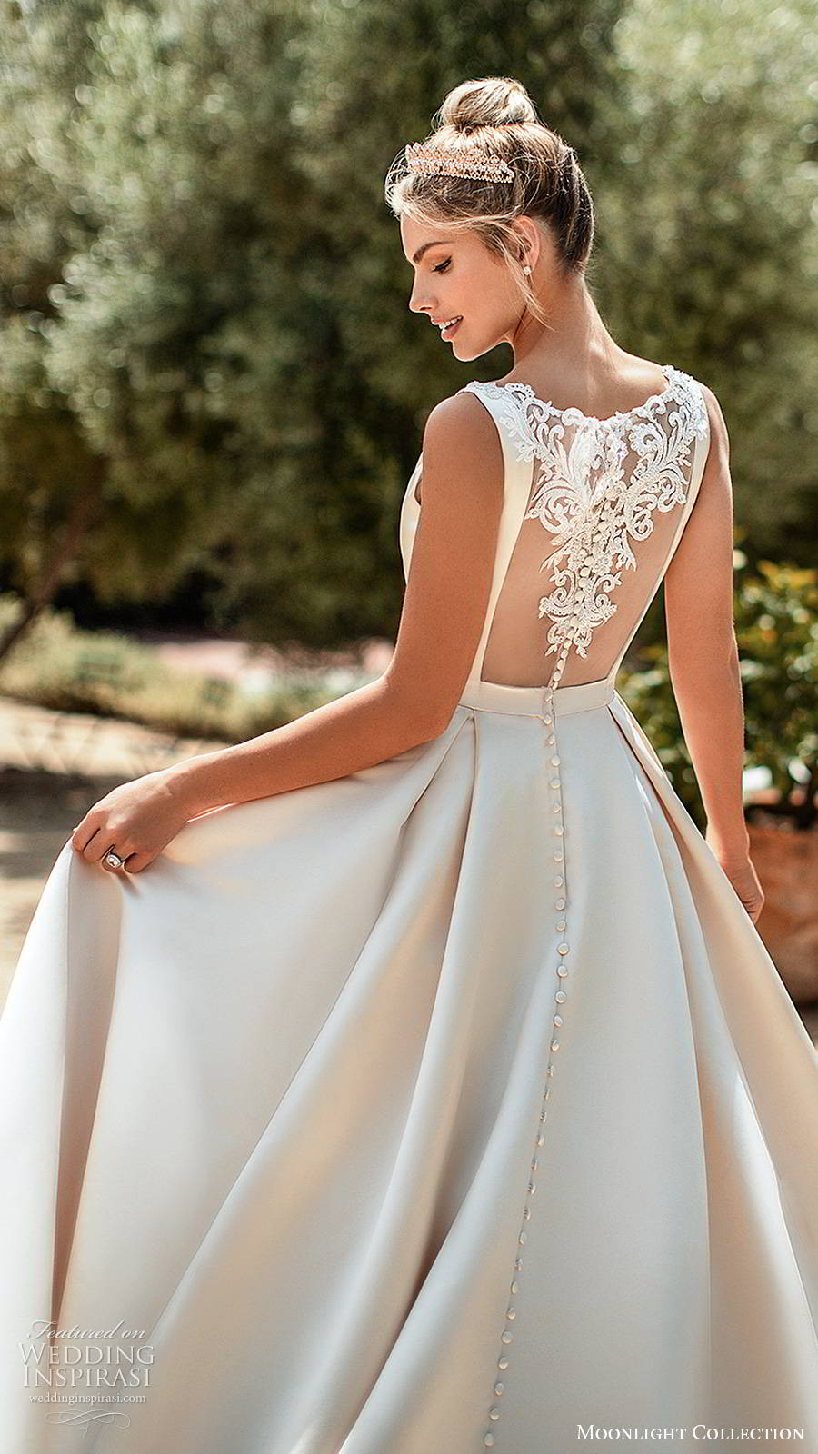 moonlight collection spring 2020 bridal sleeveless straps bateau neckline minimalist clean romantic a line ball gown wedding dress sheer back chapel train (2) zbv
