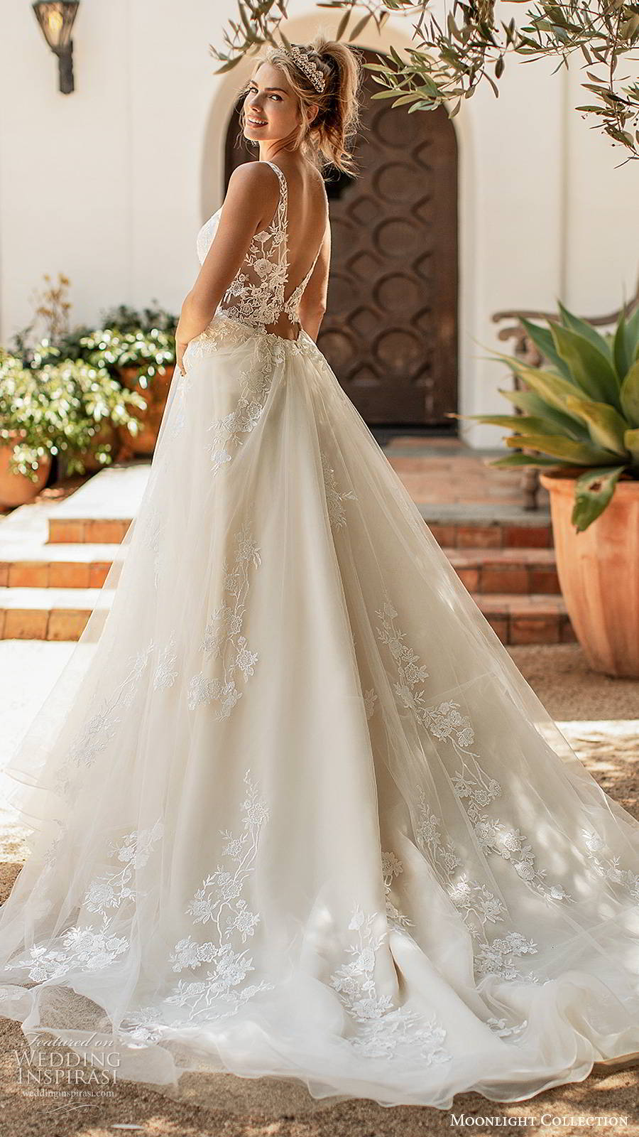 moonlight collection spring 2020 bridal sleeveless straps plunging v neckline fully embellished romantic lace a line ball gown wedding dress v back chapel train (1) bv