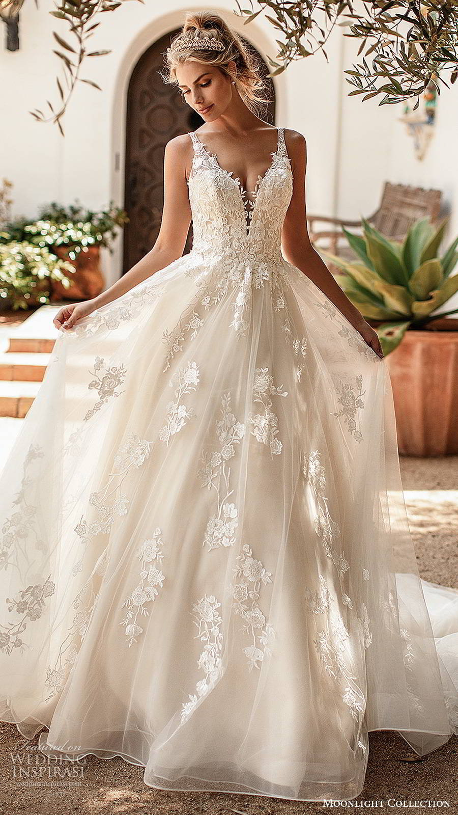 moonlight collection spring 2020 bridal sleeveless straps plunging v neckline fully embellished romantic lace a line ball gown wedding dress v back chapel train (1) mv