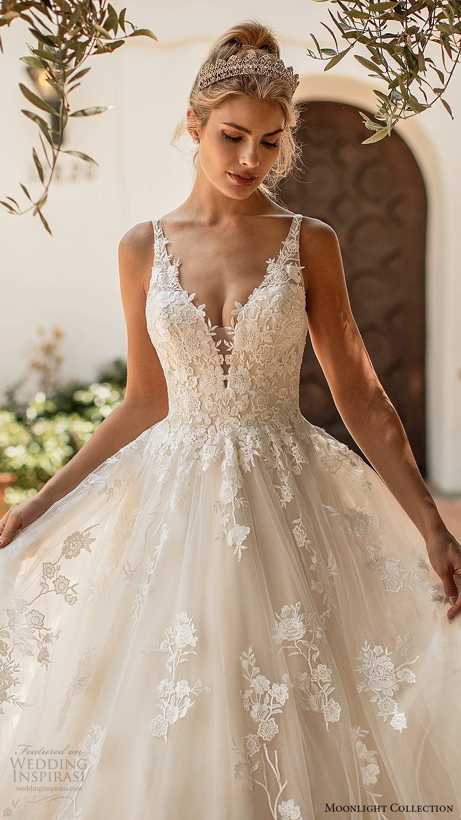 moonlight collection spring 2020 bridal sleeveless straps plunging v neckline fully embellished romantic lace a line ball gown wedding dress v back chapel train (1) zv