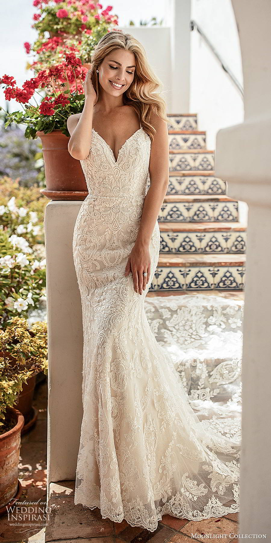moonlight collection spring 2020 bridal sleeveless thin straps sweetheart neckline fully embellished lace elegant trumpet sheath wedding dress chapel train  (4) mv