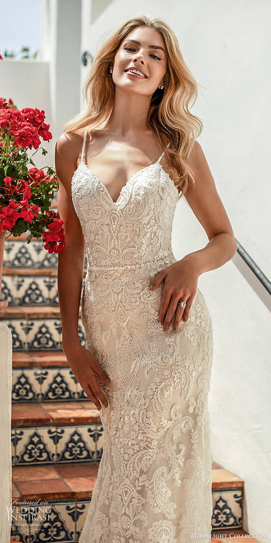moonlight collection spring 2020 bridal sleeveless thin straps sweetheart neckline fully embellished lace elegant trumpet sheath wedding dress chapel train  (4) zv