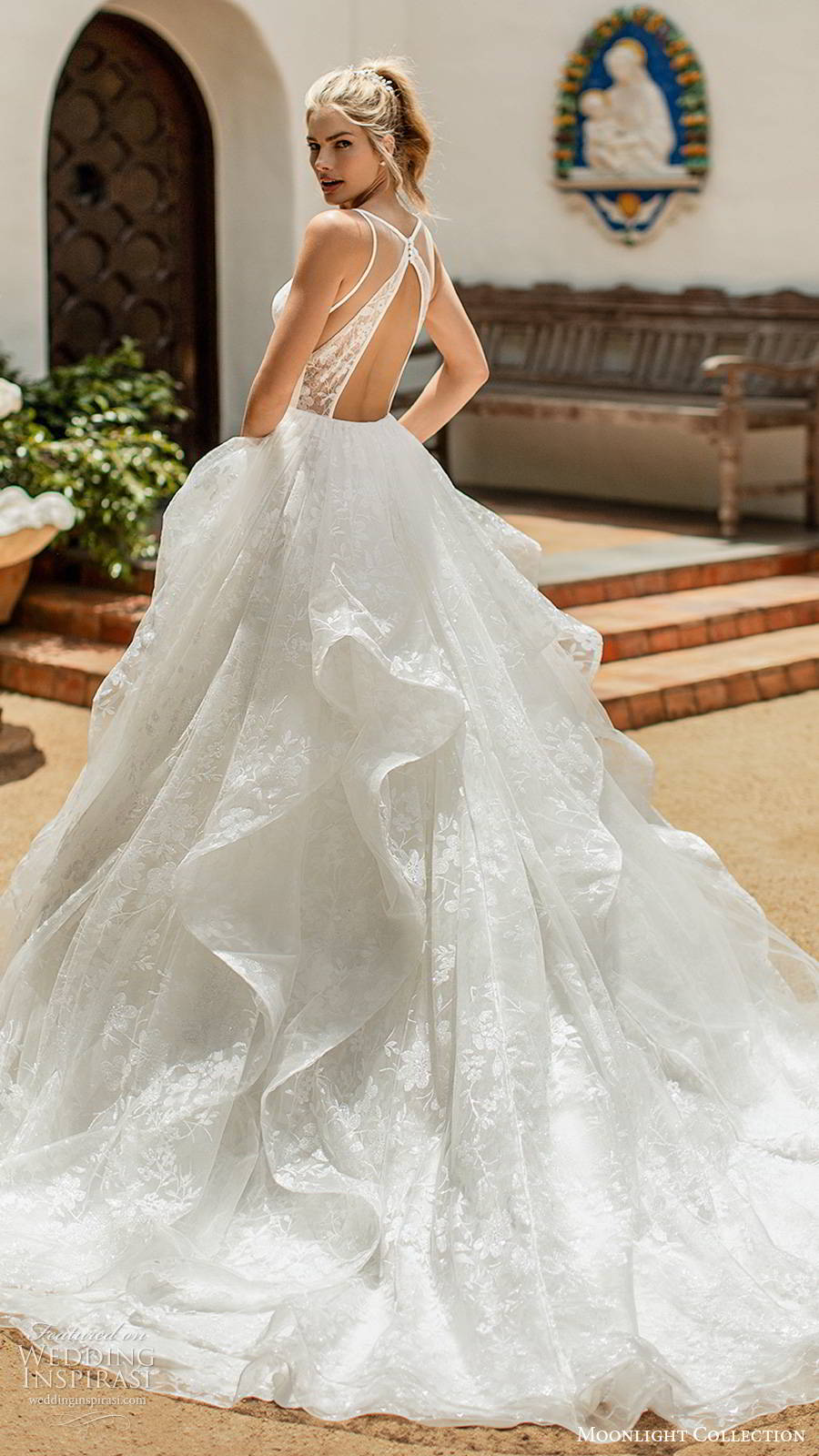 moonlight collection spring 2020 bridal sleeveless thin straps sweetheart neckline tiered skirt fully embellished romantic lace a line ball gown wedding dress cutout back chapel train (7) bv