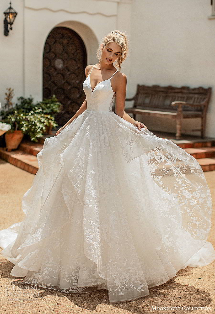 moonlight collection spring 2020 bridal sleeveless thin straps sweetheart neckline tiered skirt fully embellished romantic lace a line ball gown wedding dress cutout back chapel train (7) mv