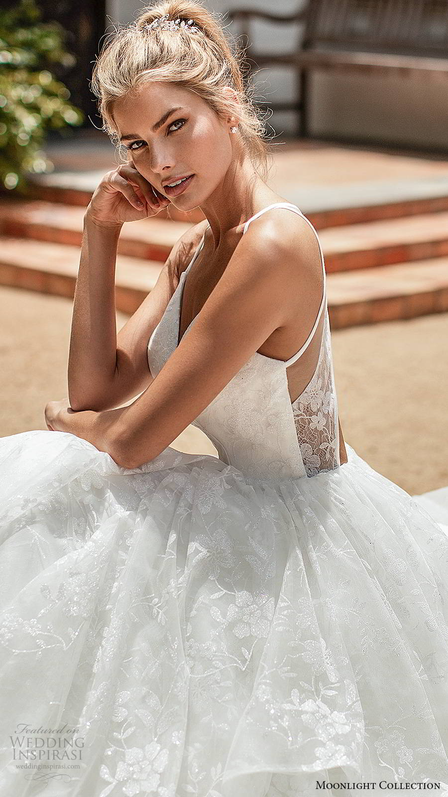 moonlight collection spring 2020 bridal sleeveless thin straps sweetheart neckline tiered skirt fully embellished romantic lace a line ball gown wedding dress cutout back chapel train (7) zsv